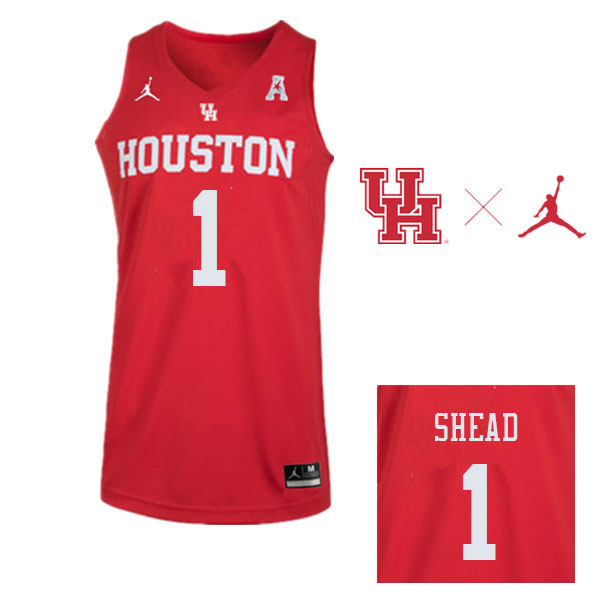 Men #1 Jamal Shead Houston Cougars College Basketball Jerseys Sale-Red